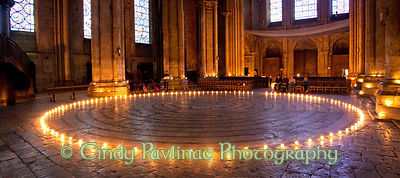 Candlelit Chartres Labyrinth Panorama