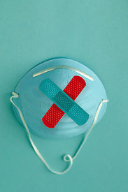 medical mask with two bandaids