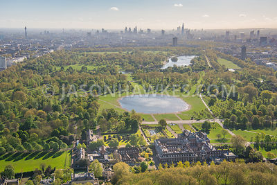 Aerial view of Kensington Palace, Kensington Gardens and Hyde Park, London.
