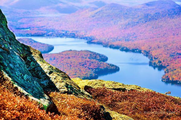 LAKE PLACID VIEW FROM WHITEFACE MOUNTAIN ADIRONDACK MOUNTAINS FALL AUTUMN COLORS