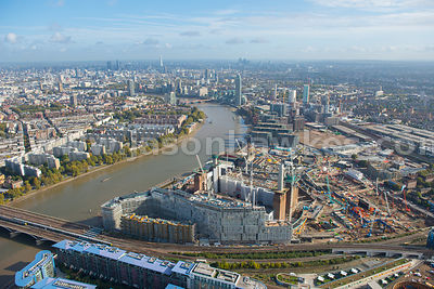 Aerial view of Battersea Power Station and Nine Elms, London