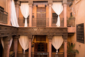 A balcony inside a building In Marrakesh, Morocco