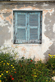 window shutter peeling paint and spring flowers, archaeological park, paphos, cyprus