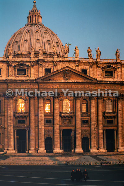 St. Peter's Basilica is an Italian Renaissance church in Vatican City. Rome, Italy, March, 1978.
