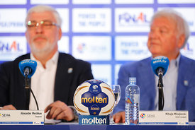Alexander Meshkov and Michael Wiederer during the Final Tournament - Closing press conference - Final Four - SEHA - Gazprom league, Skopje, 15.04.2018, Mandatory Credit ©SEHA/ Stanko Gruden