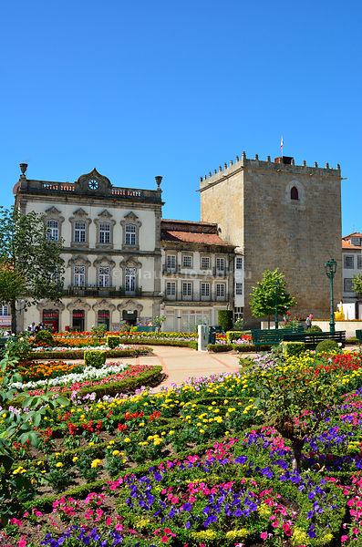The historical centre of Barcelos with the medieval tower, dating back to the 15th century. Portugal