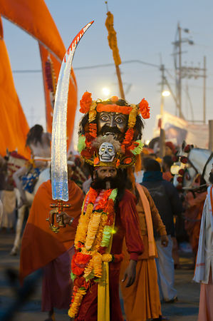 This portrait of a pilgrim dressed as some Indian mythological character was shot during the Kumbh Mela.