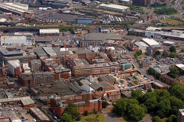 Aerial view of Housing Development under construction in Digbeth, Birmingham, from the air.