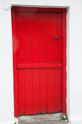 Red door, Doolin village, County Clare, Ireland