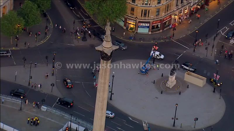 Aerial footage of Nelson's Column at Trafalgar Square, London, England, UK