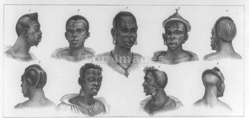 Scarification and hairstyles of African tribes represented in Brazil
