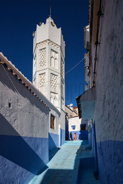 Minaret of the Bab Souk Mosque and a Narrow Street