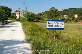 road sign for agios stafanos or san stefanos as it is better known, north west corfu, ionian islands, greece.