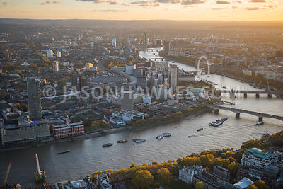 ITN, London Eye, London Television Centre, national theatre, Oxo Tower, river thames, South Bank, Southbank, Waterloo  Station, aerial view London