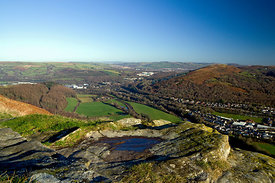 View across the Taff Vale from the Garth Mountain above Taffs Well, South Wales, Valleys, UK.
