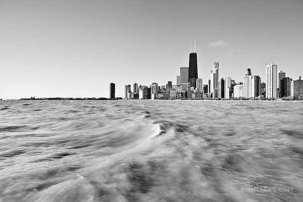 CHICAGO SKYLINE AND LAKE MICHIGAN BLACK AND WHITE