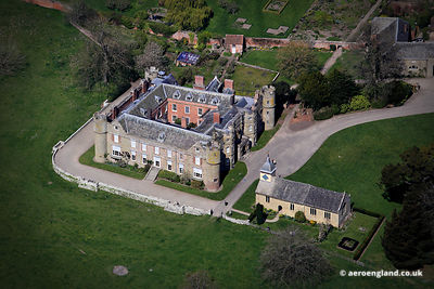aerial photograph Croft Castle Herefordshire and the 13th Century St Micheals Church.
