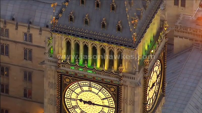 Aerial Footage over Big Ben, Houses of Parliament, Westminster, London, England, UK