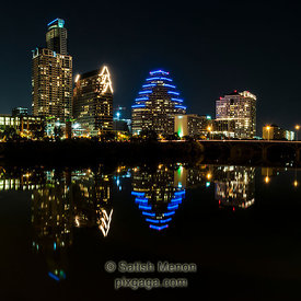 Austin Downtown Buildings and Reflection in Colorado River, Austin, Texas, USA