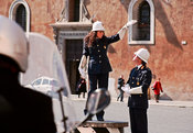Female traffic warden in Piazza Venezia, Rome.