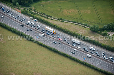 Aerial view of traffic on motorway