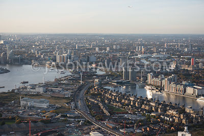 Aerial view, Britannia Village (West Silvertown), The Royal Docks, Royal Victoria Dock, London.