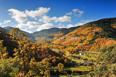 Autumn in the valley of Zêzere river. Serra da Estrela Nature Park, Portugal