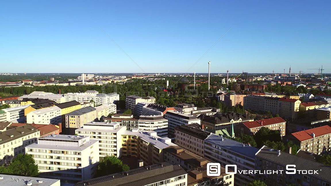 Helsinki City, Uhd Aerial View of Kallio and Linnanmaki Amusement Park, on a Sunny Summer Morning Dawn, in Helsingfors, Uusimaa, Finland