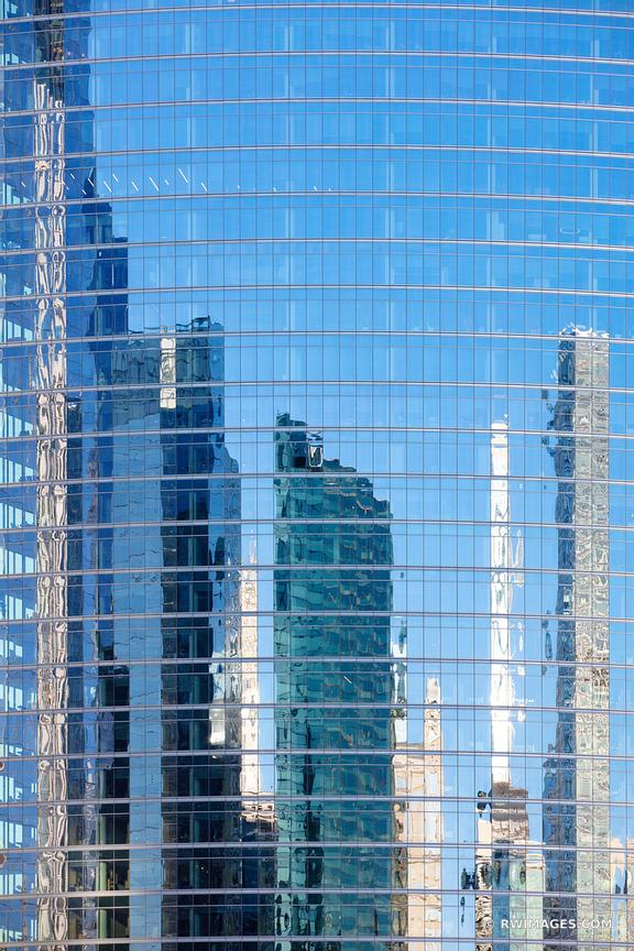 MODERN ARCHITECTURE GLASS BUILDING FACADE ABSTRACT REFLECTION CHICAGO ILLINOIS COLOR VERTICAL