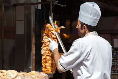 Doner kebabs at a restaurant close to the spice market, Istanbul