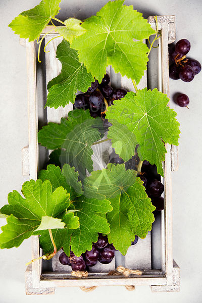 Fresh grapes in a wooden box. Top view