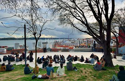 Santa Catarina belvedere, overlooking the Tagus river, on a Sunday afternoon. Lisbon, Portugal