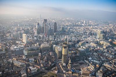 Aerial view of London, construction of Principal Tower, Principal Place with Spitalfields.