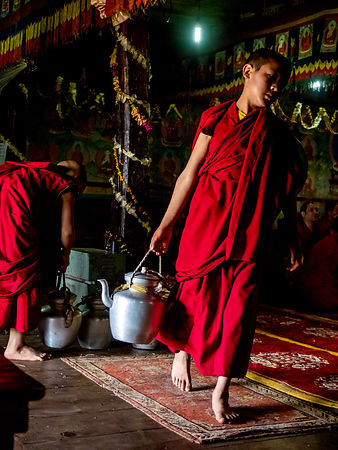 These young monks are getting ready to serve tea