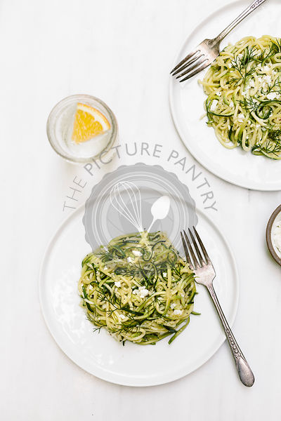 Zucchini Noodles with Feta and Dill Italian Cuisine