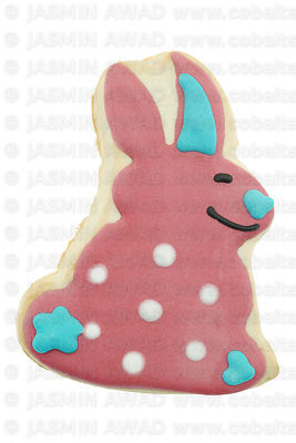 Cute cookie with easter bunny and sugar glazing in pastel colors