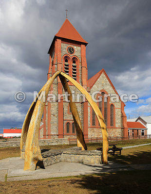 Christ Church Cathedral (1892) and Whalebone Arch (1933), Stanley, East Falkland, Falkland Islands