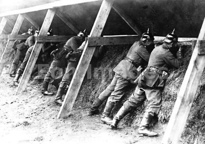 Germans fire from trench on Belgian frontier