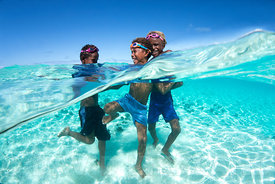 KIds playing in the water, Solomon Islands