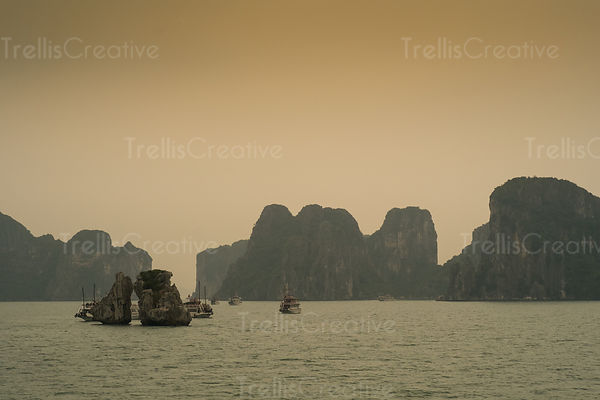 Tourboats sailing in Halong Bay, Vietnam