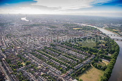 Aerial view of London, Bishops Park, Fulham.