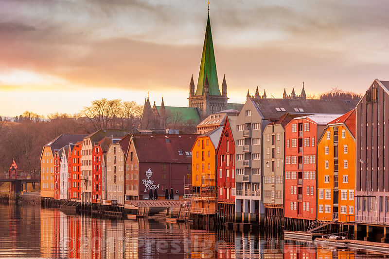 Wooden buildings  and Cathedral in the Bakklandet district of old Trondheim