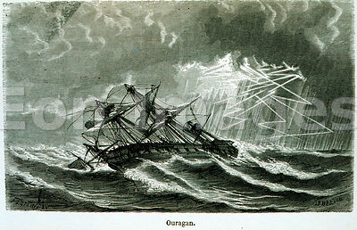 Illustration from 1869 depicting ship in a hurricane