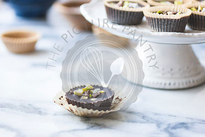 Salted chocolate pistachio butter cups.