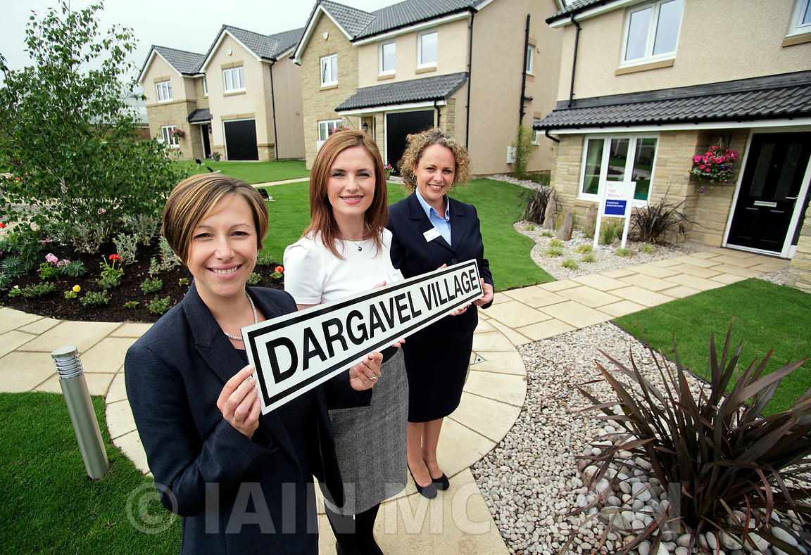 Dargavel Village, Bishopton, Renfrewshire..27.6.13.3 x new Taylor Wimpey showhomes open..Pic shows: Suzi Harley (sales exec - curly hair), Audrey Ross (regional sales and marketing director - white top), Kirsty McGill (sales manager for west of scotland, short hair, blue jacket) and Martin Campbell (site manager) at Dargavel Village...Free PR use for Taylor Wimpey..More info from:.Hazel Taylor at Red Angel PR..7 Bonaly Wester.Colinton.Edinburgh.EH13 0RQ.Tel: 0131 441 9803.M: 07709 317 289.hazel.taylor@redangelpr.co.uk..Pictures Copyright: Iain McLean.79 Earlspark Avenue.G43 2HE.07901 604 365.www.iainmclean.com.photomclean@googlemail.com.07901 604 365.ALL RIGHTS RESERVED.