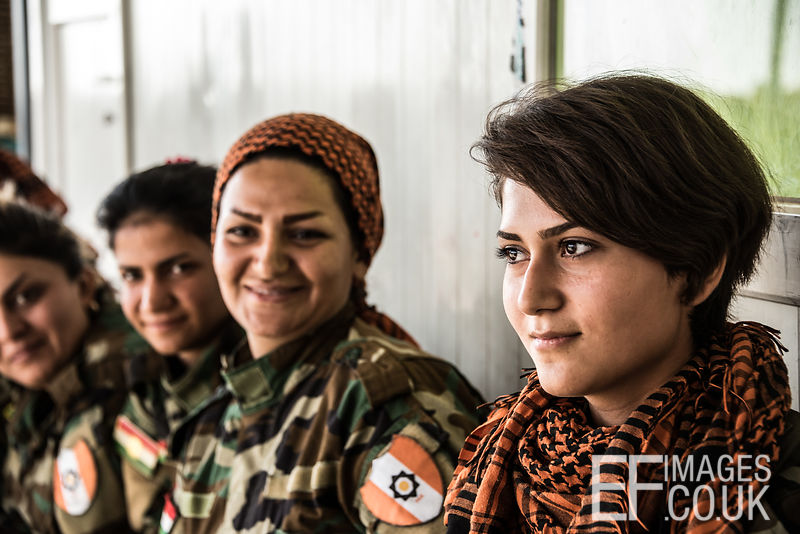 PAK (Kurdistan Freedom Party) female fighters, a mother and daughter, at their base north of Hawija, where Kurdish Iranian fighters are holding the line against the last vestiges of Daesh and preparing to engage the Hashd al Shaabi forces threatening Kirkuk. Kirkuk Governorate, Iraq, 14th October 2017