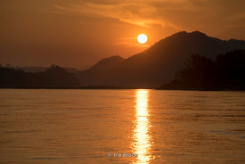 Sunset on the Mekong River near Luangprabang, Laos.