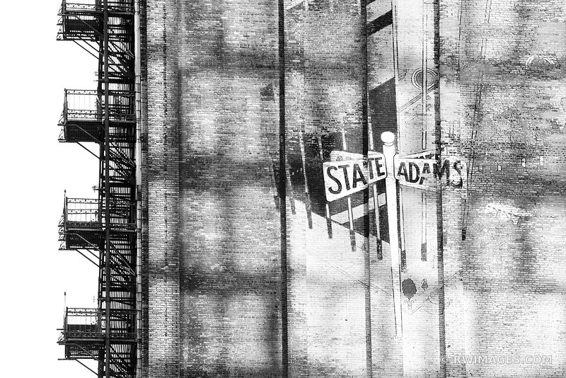 STATE AND ADAMS BRICK WALL MURAL FIRE ESCAPE CHICAGO BLACK AND WHITE