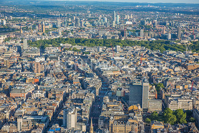 Aerial view of Regent St, Langham Place, Oxford Circus, London, London West End. Cavendish Square Gardens, The Langham London Hotel,