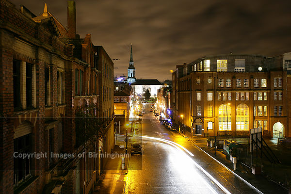 Night view from the City Centre looking towards the Jewellery Quarter and St. Paul's Square (inc. St Pauls Church).